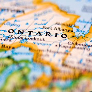 Ontario in Canada on the map.